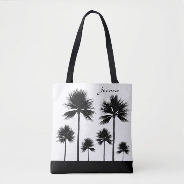 Beach Themed Black and White Palm Tree with Name Beach Tote Bag
