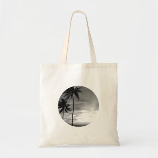 Black and White Palm Trees Tote Bag
