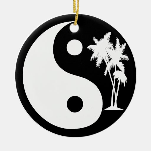 Black and White Palm Trees Yin Yang Round Ornament