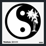 """Black and White Palm Trees Yin Yang Symbol Wall Decal<br><div class=""""desc"""">Yin and Yang are two opposites working together in balance and harmony. The tropical Black and White Palm Trees Yin Yang Symbol Wall Sticker features white palm trees with a black background.</div>"""