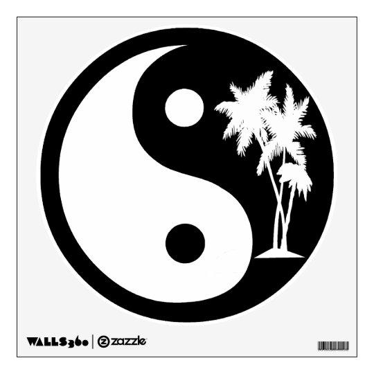 Black And White Palm Trees Yin Yang Symbol Wall Decal Zazzle