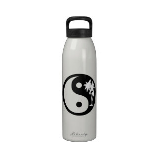 Black and White Palm Trees Yin Yang Water Bottle