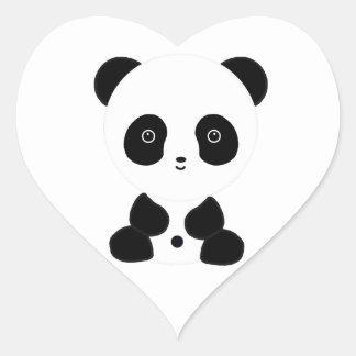 Black and White Panda Bear Heart Sticker