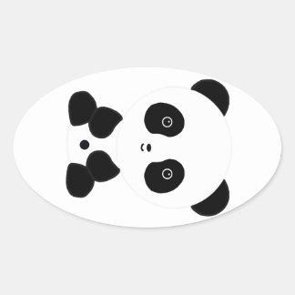Black and White Panda Bear Oval Sticker