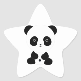 Black and White Panda Bear Star Sticker
