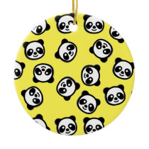 Black and White Panda Cartoon Pattern Ceramic Ornament