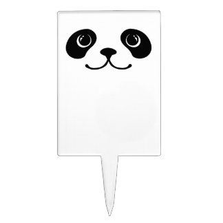 Black And White Panda Cute Animal Face Design Cake Toppers