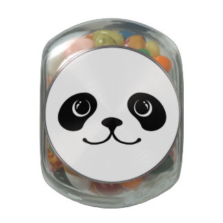 Black And White Panda Cute Animal Face Design Jelly Belly Candy Jar
