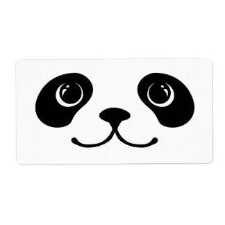 Black And White Panda Cute Animal Face Design Label