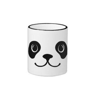 Black And White Panda Cute Animal Face Design Ringer Coffee Mug
