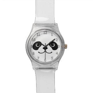 Black And White Panda Cute Animal Face Design Watch