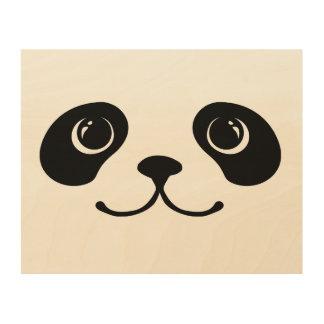 Black And White Panda Cute Animal Face Design Wood Wall Art