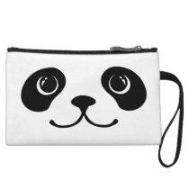 Black And White Panda Cute Animal Face Design Wristlet