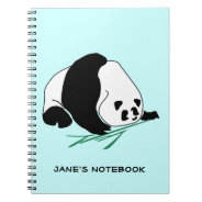 Black and White Panda Eats Bamboo Notebook at Zazzle