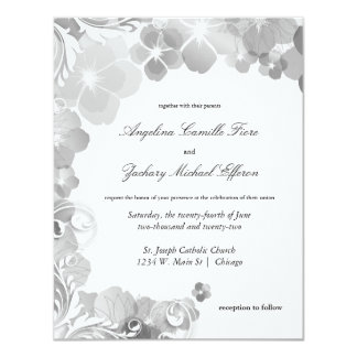 "Black And White Pansies And Swirls Formal Wedding 4.25"" X 5.5"" Invitation Card"
