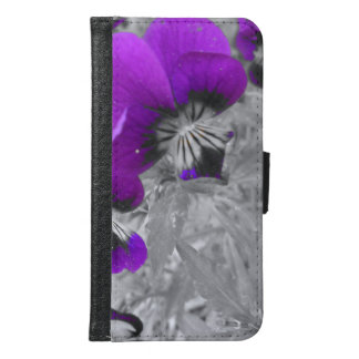Black and White Pansy Effect Samsung Galaxy S6 Wallet Case