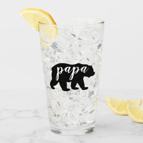 Black and White Papa Bear Glass