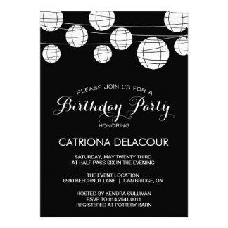 BLACK AND WHITE PAPER LANTERNS BIRTHDAY INVITATION
