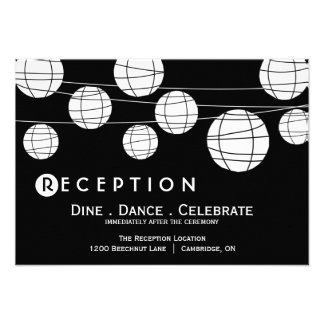 Black and White Paper Lanterns Reception Card