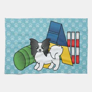 Black And White Papillon Agility Dog Towel
