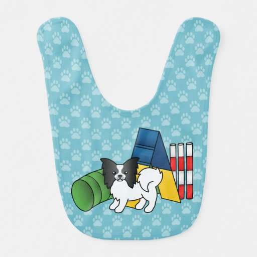 Black And White Papillon Agility Dog Baby Bibs