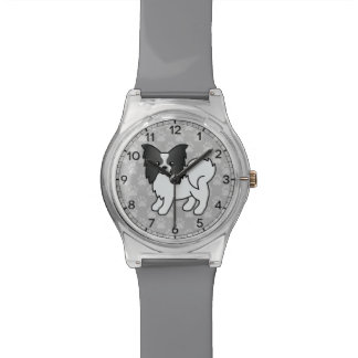 Black And White Papillon Cartoon Dog Wrist Watch