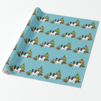 Black And White Papillon Christmas Dog Wrapping Paper