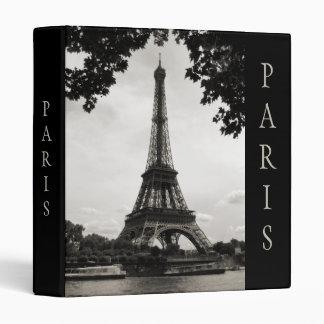Black and White Paris Eiffel Tower 3 Ring Binder