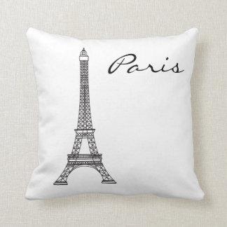 Black and White Paris Landmark Pillow
