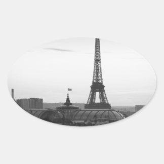 Black and White Paris Oval Sticker