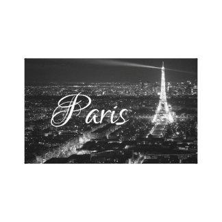 Black and White Paris Text Canvas Print
