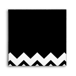 Black and White. Part Zig Zag, Part Plain Black. Envelope