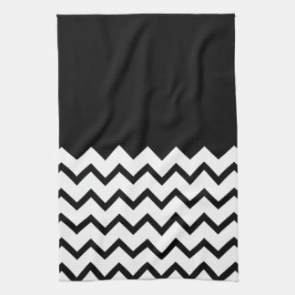 Black and White. Part Zig Zag, Part Plain Black. Kitchen Towel