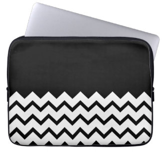 Black and White. Part Zig Zag, Part Plain Black. Laptop Sleeve