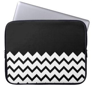 Black and White. Part Zig Zag, Part Plain Black. Laptop Sleeves