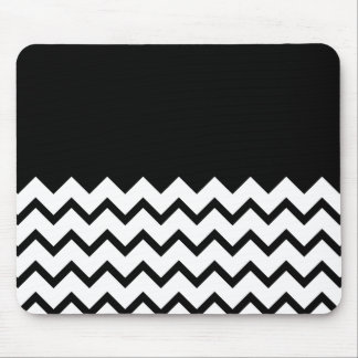 Black and White. Part Zig Zag, Part Plain Black. Mouse Pad