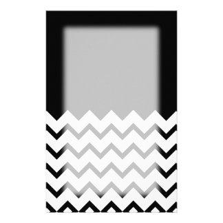Black and White. Part Zig Zag, Part Plain Black. Stationery Paper