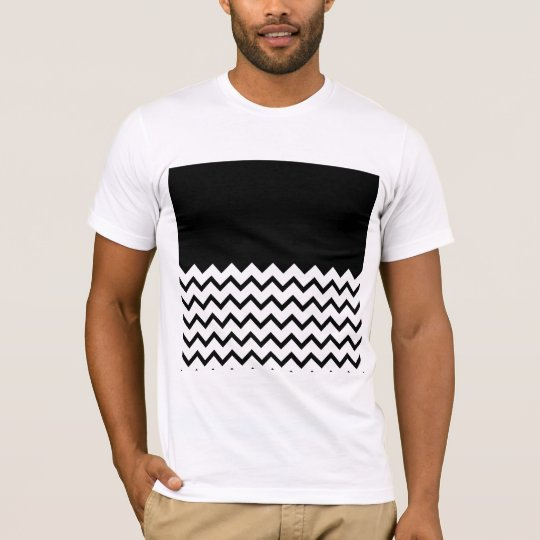 Black and White. Part Zig Zag, Part Plain Black. T-Shirt