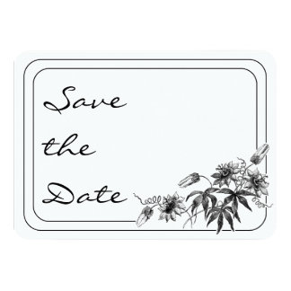 Black and White Passion Flowers Save the Date 4.5x6.25 Paper Invitation Card