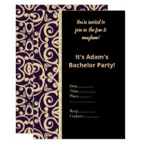 BLACK AND WHITE PATTERN BACHELOR PARTY INVITE
