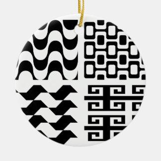 Black and white pattern ceramic ornament