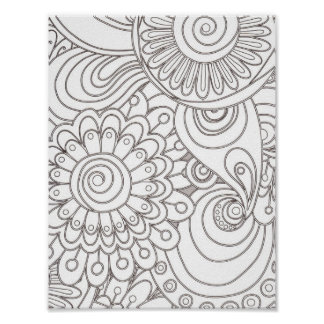 black and white pattern doodles poster