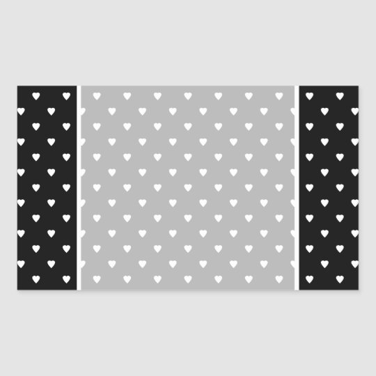 Black and White Pattern - Hearts. Rectangular Sticker