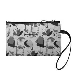 Black and White Pattern Key Coin Clutch