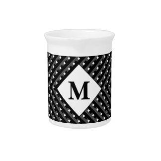 Black and White pattern Monogram Beverage Pitcher