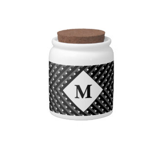 Black and White pattern Monogram Candy Dish