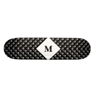 Black and White pattern Monogram Skateboard