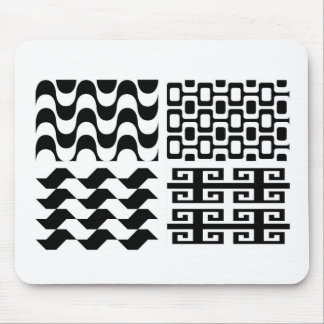 Black and white pattern mouse pad