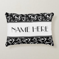 Black And White Pattern Music Theme Decorative Pillow