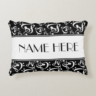 Black And White Pattern Music Theme Decorative Pillow at Zazzle